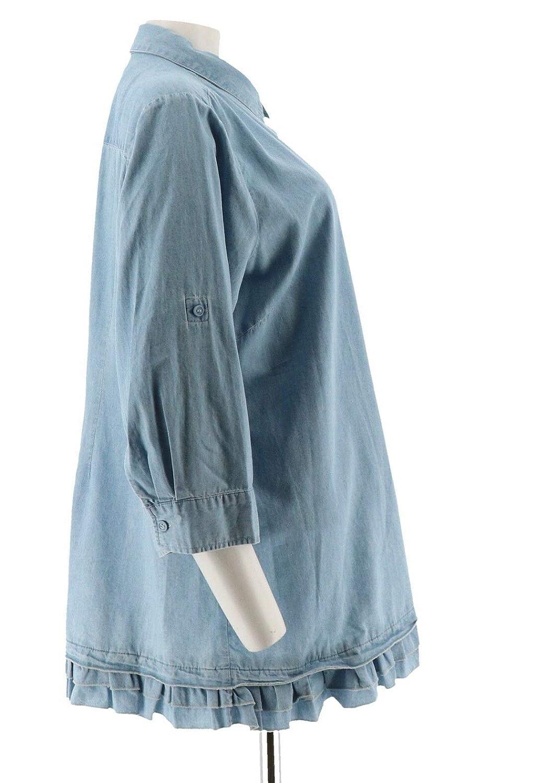 Joan Rivers Lightweight Denim Shirt Ruffle Hem A301805