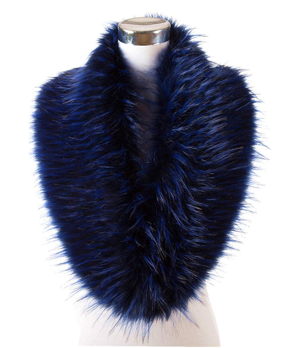 Lucky Leaf Women Winter Faux Fur Scarf Wrap Collar Shrug for Wedding Evening Party (Royal Blue mix Black)