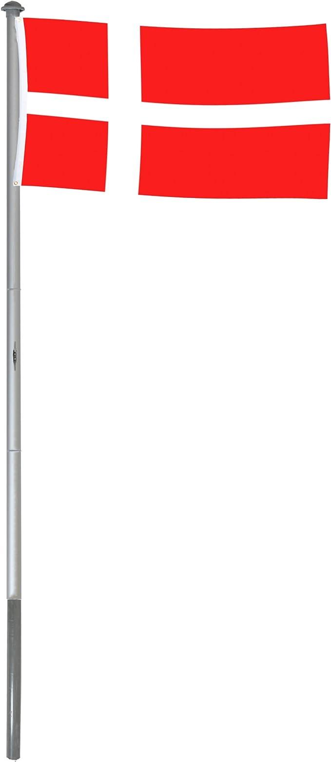 BRUBAKER Mástil Aluminio Exterior 6 m Incluye Bandera de Dinamarca 150 x 90 cm y Soporte de Tierra: Amazon.es: Jardín