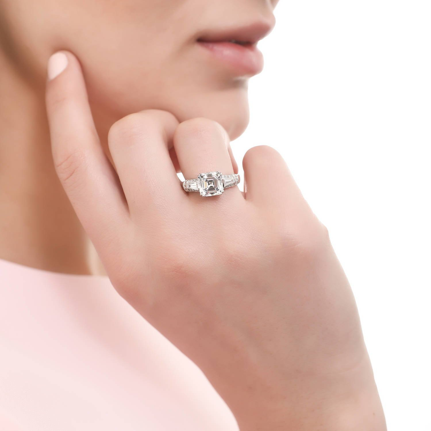 BERRICLE Rhodium Plated Silver Asscher Cut Cubic Zirconia CZ 3-Stone Engagement Ring 3.4 CTW Size 7 by BERRICLE (Image #4)
