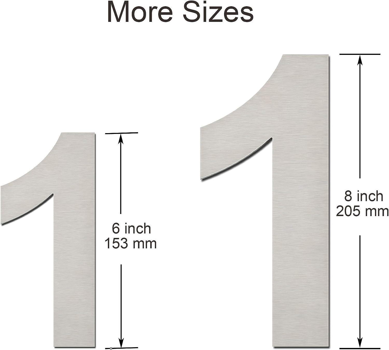 205 mm hoch schwebende Optik und einfache Montage modern aus massivem 304 Edelstahl Nummern 3 Drei Hausnummer geb/ürstet