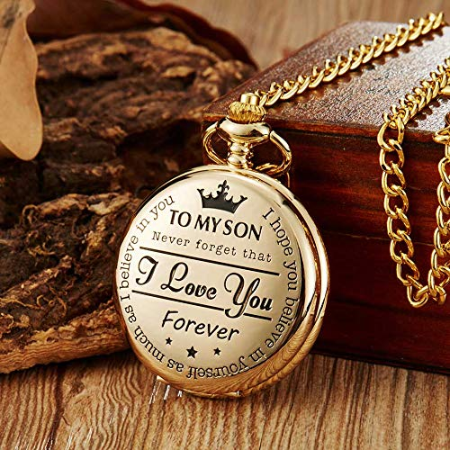 - to My Son I Love You Pocket Watch Laser Engraved Quartz Flip Clock for Boy's Children's Chain Clock Kids Best Gifts for Son