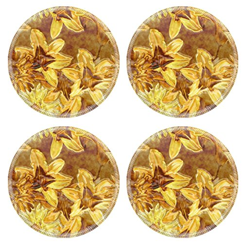 Luxlady Natural Rubber Round Coasters Image ID: 40432995 art monochrome golden blurred vintage floral seamless pattern with white and yellow gold lilies and gerberas on dark background with 3d effect