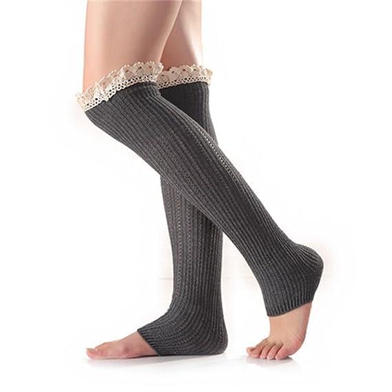 Oudan Calcetines de malla de encaje por encima de la rodilla para calcetines de mujer abiertos (Color : Gris, tamaño : Un tamaño): Amazon.es: Ropa y ...