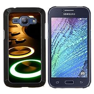 YiPhone /// Prima de resorte delgada de la cubierta del caso de Shell Armor - Arte Dj Set Música Amor Dance Party Tech - Samsung Galaxy J1 J100