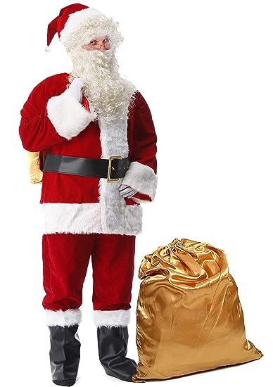 1f2dfc5067720 Halemet Men s Deluxe Santa Suit 10pc. Christmas Ultra Velvet Adult Santa  Claus Costume S
