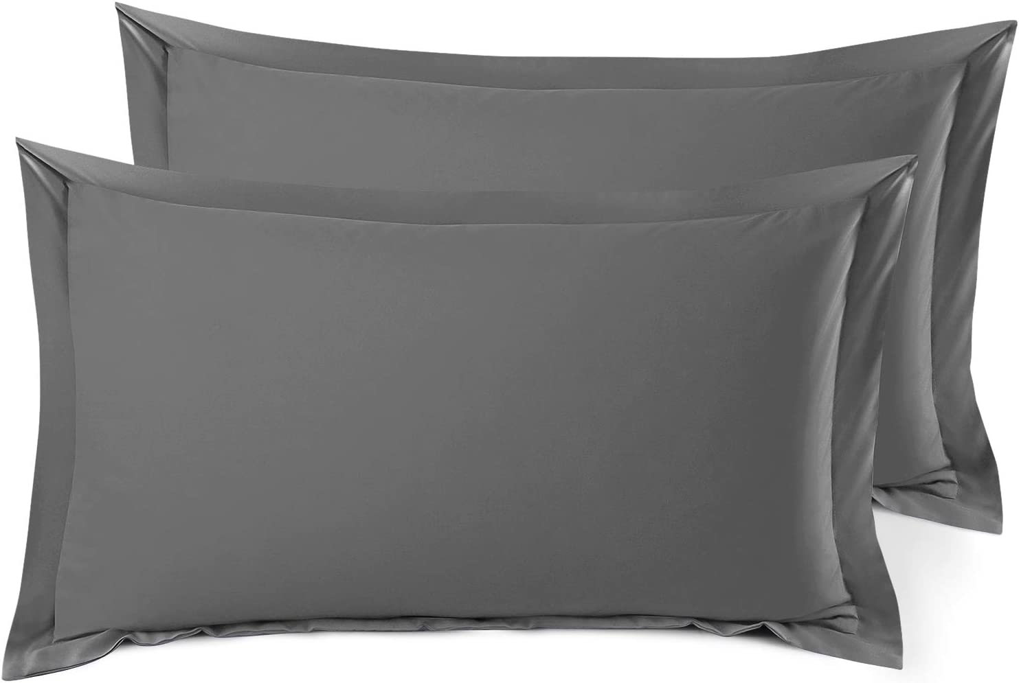 Nestl Bedding Soft Pillow Shams Set of 2 - Double Brushed Microfiber Hypoallergenic Pillow Covers - Hotel Style Premium Bed Pillow Cases, King - Gray