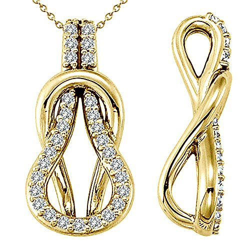 0.31 Carat White Diamond Beautiful Design Fancy Charm Love Knot Pendent Necklace Chain 14K Yellow Gold ()