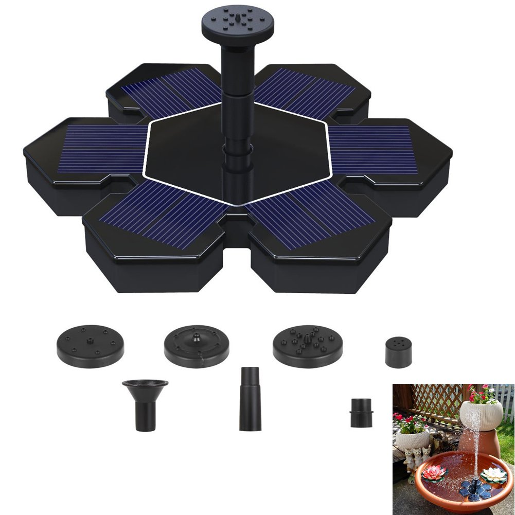 OWIKAR Solar Powered Fountain Pond Pump Bird Bath Fountains Outdoor Watering Submersible Water Floating Pump Kit with 4 Different Spray Heads for Fish Tank Aquarium Pond Pool Garden Decoration