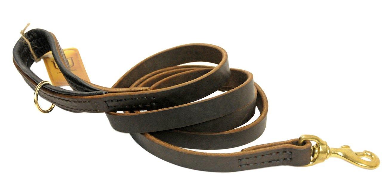 Dean & Tyler Soft Touch Nero Imbottitura Cane guinzaglio con Anello Marronee sulla Maniglia e moschettone in Ottone Massiccio, 4-Feet da 3 10,2 cm