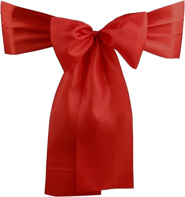 DriewWedding 50-Piece 270x14.3cm Satin Wedding Chair Bands Sashes Reception Banquet Party Decoration Events Supplies(Red)