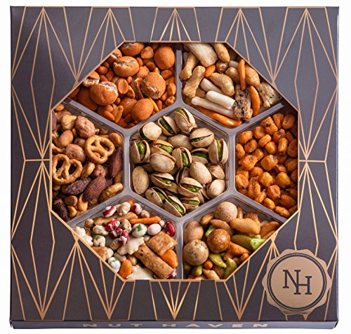 The Nut Haven Gourmet Party Mix Nut Gift Basket/Box ~ variety of freshly roasted 7 section nut tray ~ Great for: Corporate, Holiday, Birthday, Get well, Thank you, Men & Women, snack ~ Prime by Nut Haven (Image #4)