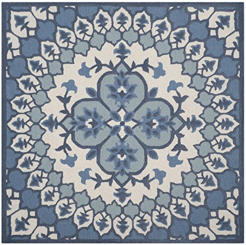 Safavieh Bellagio Collection BLG610G Ivory and Blue Medallion Square Area Rug (5' Square)