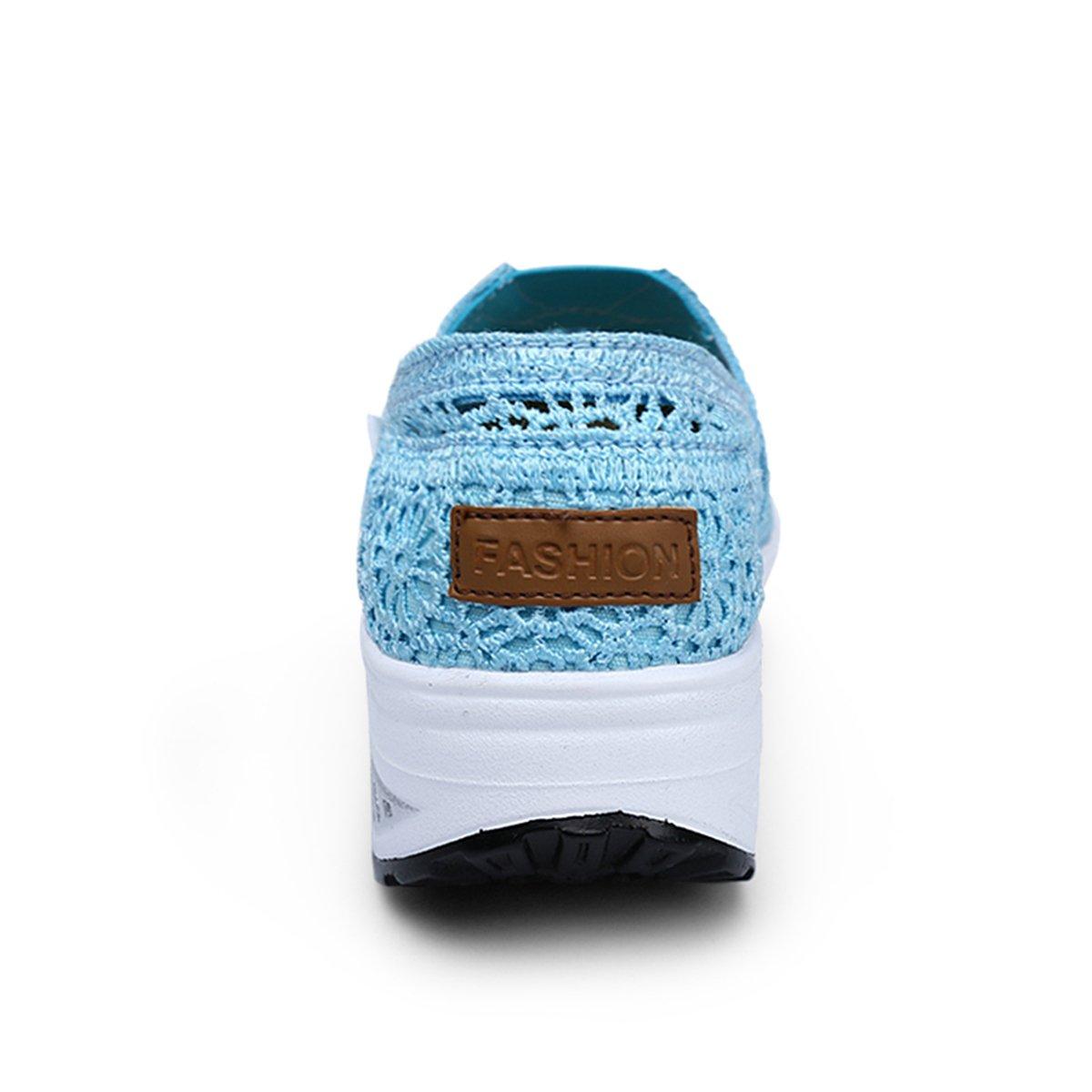 Netz Keilabsatz Plateau Wedges Freizeitschuhe Sneaker Keilabsatz Netz Atmungsaktiv Slip on Mesh-oberfläche Schuhe Laufschuhe Sommer Loafers Damen A-hellblau 011f24