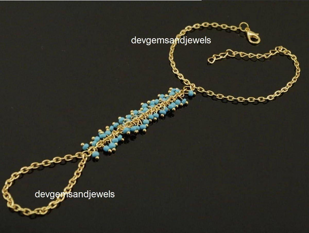 Devgemsandjewels - Pulsera para Mujer, Color Turquesa, Cadena ...
