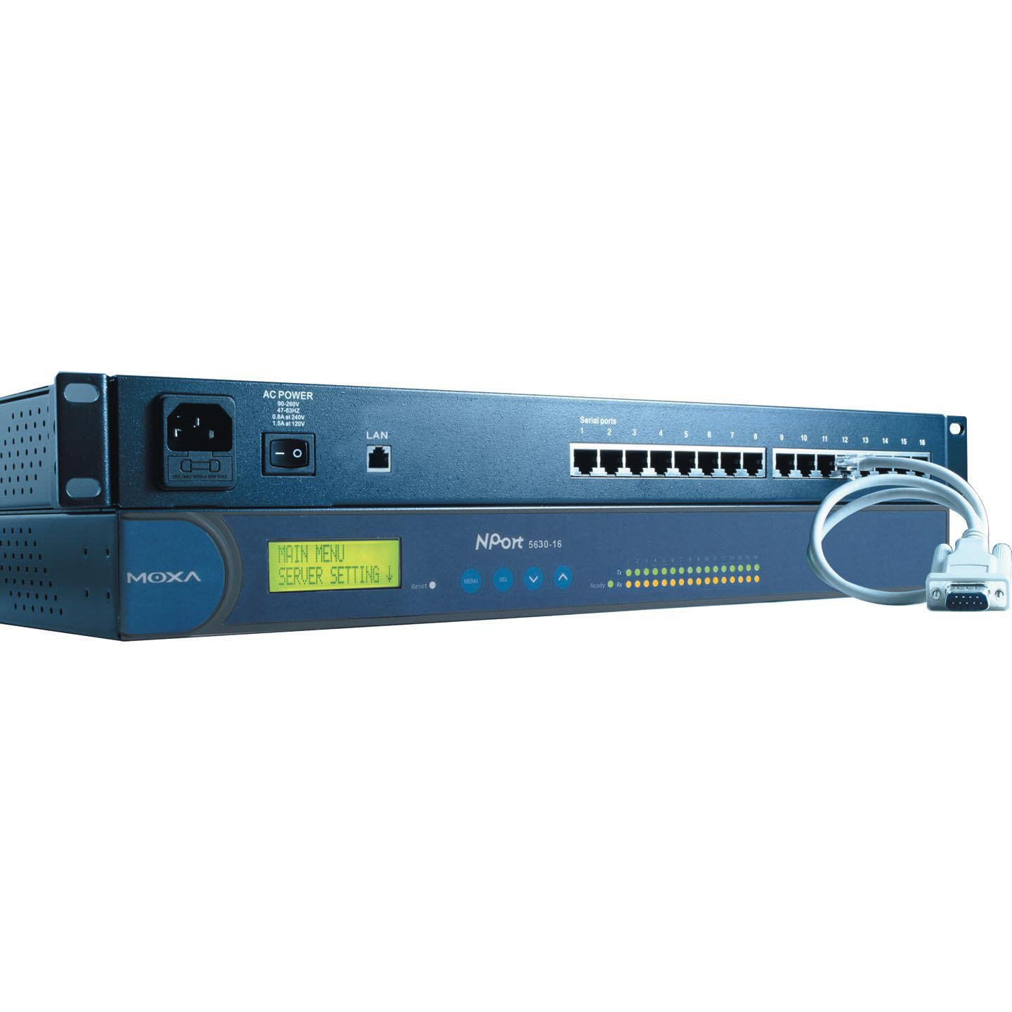 Moxa NPort 5630-16 16-Port RS-232/422/485 Rackmount Serial Device Server, 10/100 Ethernet, RS-422/485, RJ-45, 15KV ESD, 110V by NPort