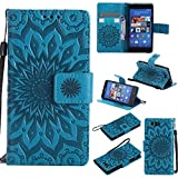 NEXCURIO [Embossed Flower] Sony Xperia Z3 Compact Wallet Case with Card Holder Folding Kickstand Leather Case Flip Cover for Sony Xperia Z3 Compact (Blue)
