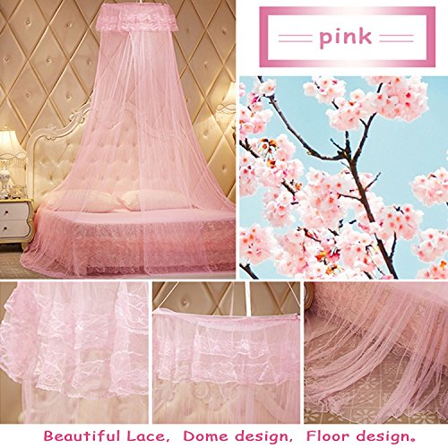Yimii Round Dome Mosquito Net Princess Bed Canopy, Mosquito Netting Bed Curtains Hanging Canopy for Girls - Pink. by Yimii (Image #2)