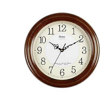 HYLR relojes reloj de pared de madera muda mesa de salón modernos relojes minimalista reloj de cuarzo de la reina HW13: Amazon.es: Hogar