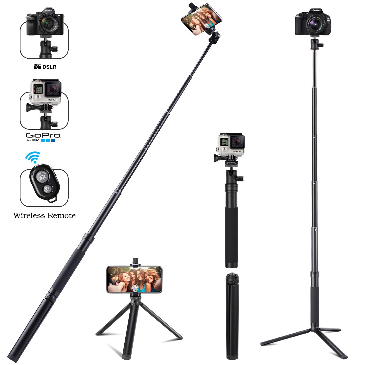 Eocean 46in Selfie Stick Tripod for Cellphone with iOS and Android System(iPhone/Samsung/Google/Huawei), iPhone Selfie Stick for GoPro Hero Fusion/6/5/4/3+/3/2/1, Ricoh Theta S/V, M15, Compact Cameras