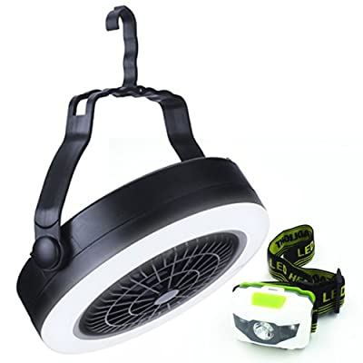 LED Camping Light and Fan and LED Headlamp Flashlight