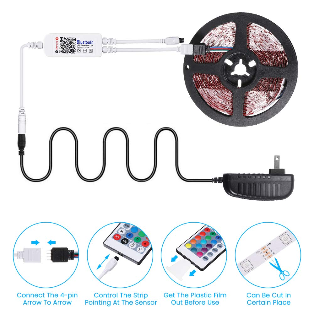 LED Strip Lights SOLMORE LED Light Strips 16.4Ft 5M Wireless Music RGB Tape Lights with Remote Color Changing Rope Lights Smart Phone App Controlled for Home Parties Birthday Bar Club Decoration