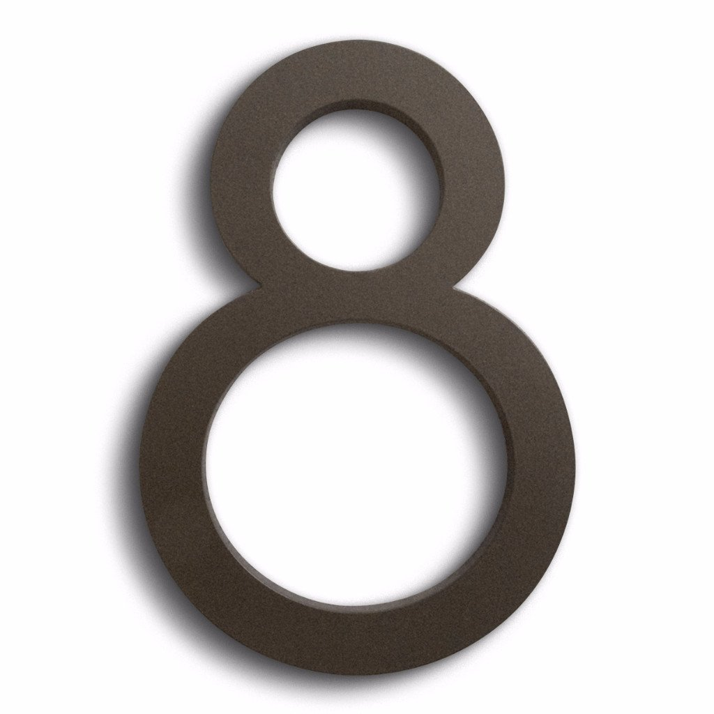 Modern House Number Bronze Color Aluminum Modern Font Number Eight''8'' 6 inch