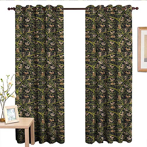 Pattern Curtains Tropical,Sloth Figures Sleeping.jpg,Living Room and Bedroom Multicolor Printed Curtain Sets 84