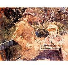 The Museum Outlet - 1881 Berthe Morisot Eugene Manet et sa fille dans le jardin de Bougival PEINTURE HUILE SUR TOILE - Poster Print Online Buy (40 X 50 Inch)