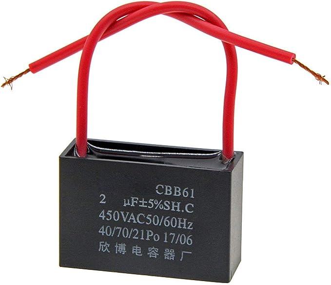 2 Terminal CBB61 Ceiling Fan Capacitor 24uF 450V AC Start Run Capacitors 3pcs