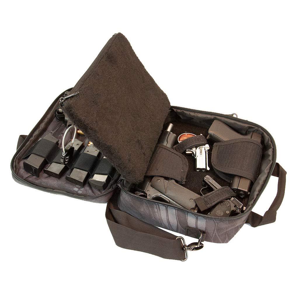 Pistol Case Range Bag for Handguns by FirstChoice Gear; 2-4 Gun Padded Tactical Handgun Soft Case, Lockable Zippers w/Padlock, 3 Mini-Holsters, 8 Mag Slots, 4 Pockets, Range Mat (Black Kryptek Camo) by First Choice Gear