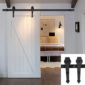 Kit de puerta corredera de Hahaemall, puerta individual, sistema de rodamiento de acero inoxidable, puerta de estilo de granero: Amazon.es: Bricolaje y herramientas