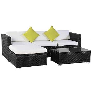 FDS 5  Teiliges Outdoor Garten Rattan Gartenmöbel Ecksofa Sofa Couch, Deck