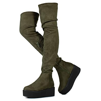 b6239ed561f Pinot-23 Women s Narrow Calf Fit High Platform Side Zip Opening Over The  Knee Boots
