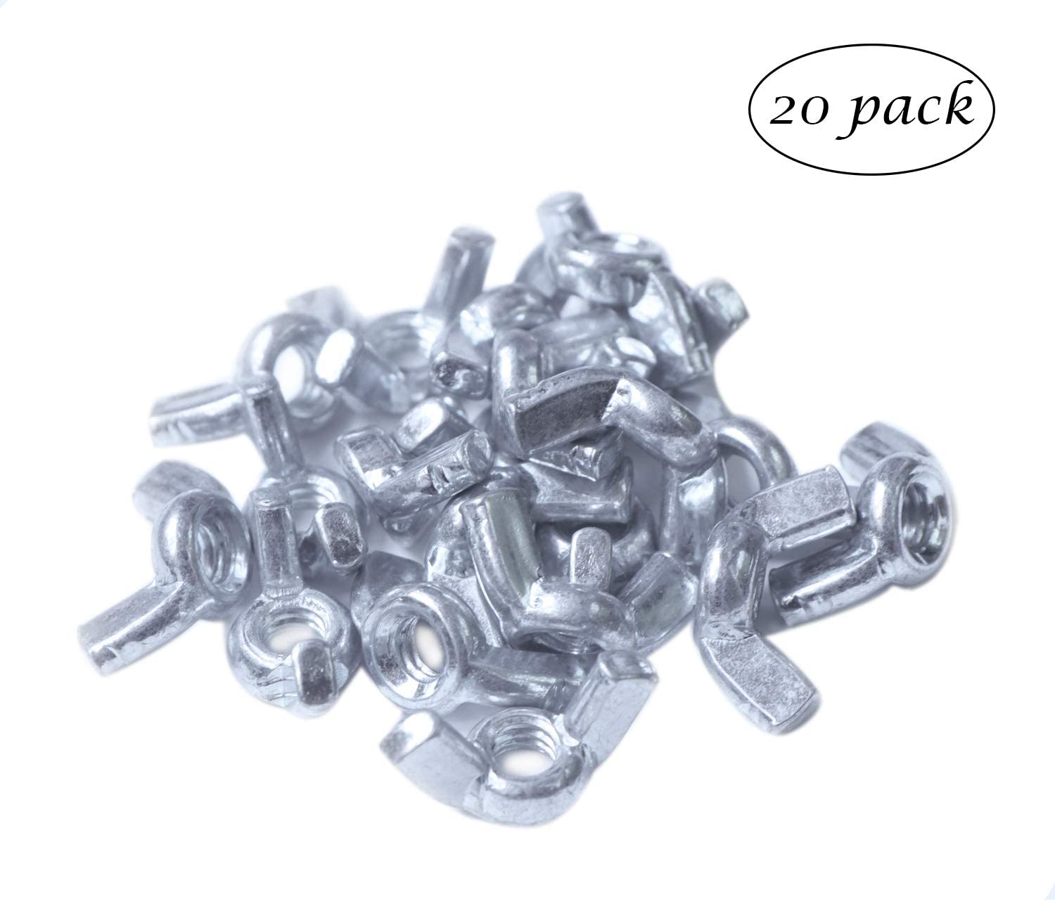 SPWOLFRT 20 Pack 1//4-20 Wing Nut Zinc Plated Fasteners Parts 1//4 Inch Butterfly Nuts 1//4-20