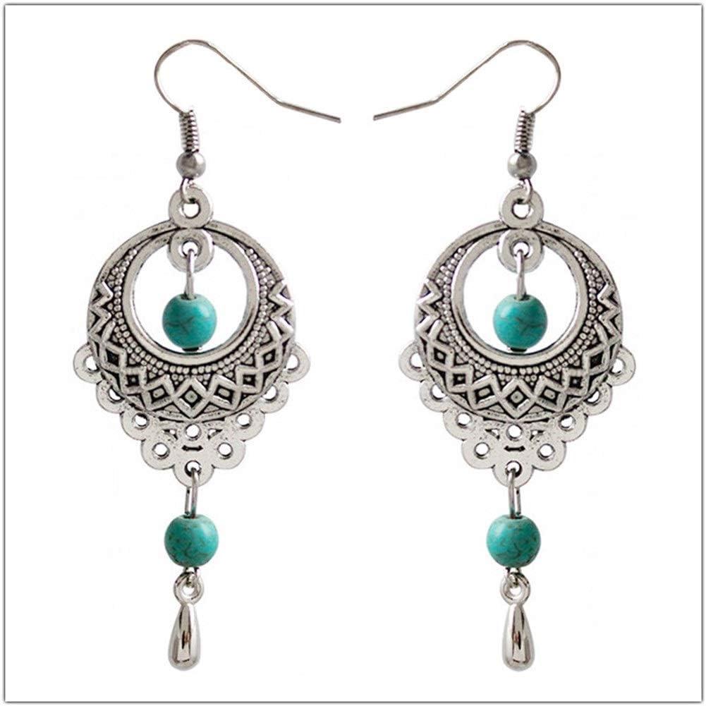 Pendientes Mujer Pendientes Ear Cuff Pendientes de Bohemia gota de viento nacional retro hueco de plata turquesa pendientes