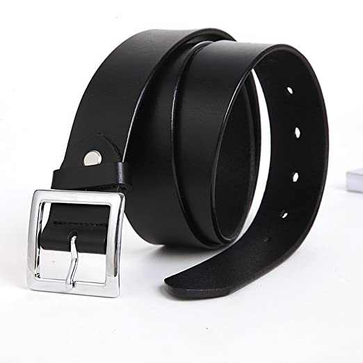 ba34e7f194d E-Clover Simple Womens Leather Belt Square Silver Buckle Dress Belt for  Jeans 3.2CM Wide (Black) at Amazon Women s Clothing store