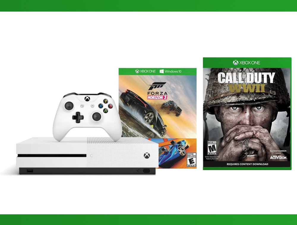 Xbox One S 500GB Console - Forza Horizon 3 Hot Wheels Console Bundle + Call of Duty WW II + WWE 2K16 Bundle ( 3 - Items )