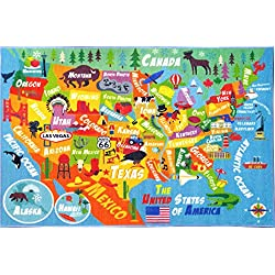 "KC CUBS Playtime Collection USA United States Map Educational Learning & Game Area Rug Carpet for Kids and Children Bedrooms and Playroom (5'0"" x 6'6"")"