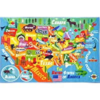 KC CUBS Playtime Collection USA United States Map Educational Learning & Game Area Rug Carpet for Kids and Children Bedrooms and Playroom (33 x 47)
