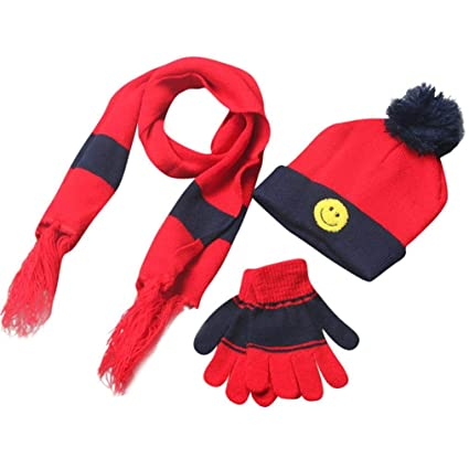 87b35a0251e Amazon.com  Kids Toddler Gloves and Hat Set Scarf+Gloves+Hats Baby Boy  Girls Winter Warm Kit (Red)  Arts