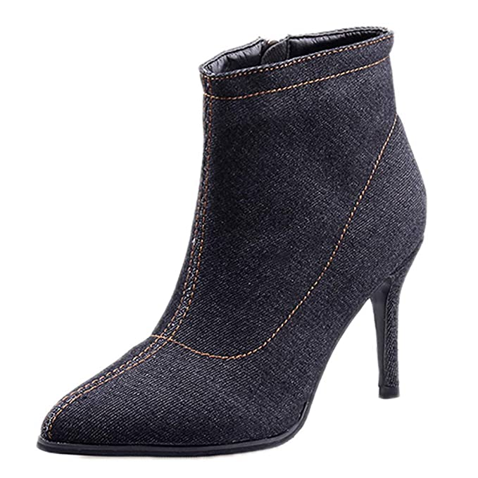 bcc04781737fb DENER❤ Women Ladies Fashion Ankle Boots with High Heels, Denim ...