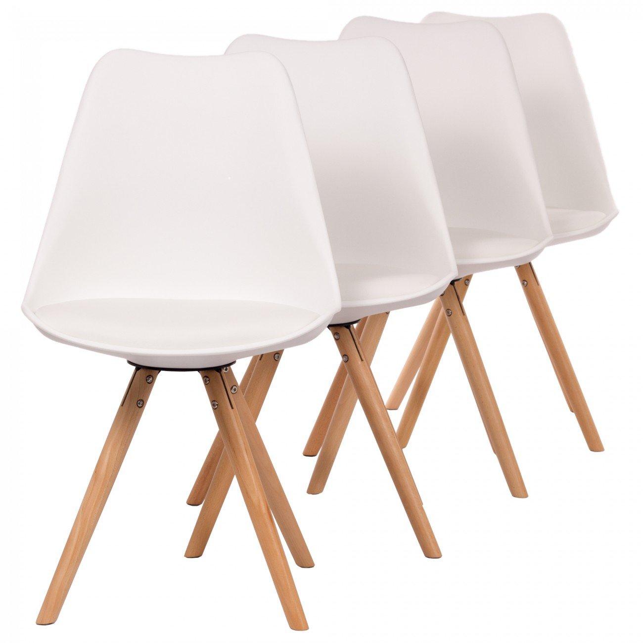 MY SIT Chaise Design Mool Ensemble de 4 blanc