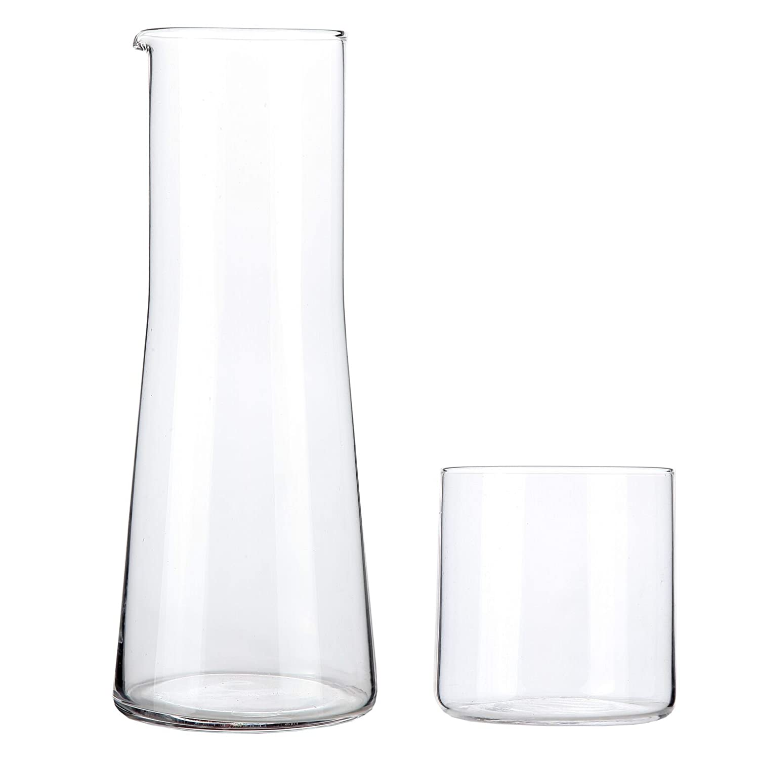 Lily's Home Bedside Night Water Carafe with Tumbler Glass, Easy Pour Spout for No-Mess Use in Bedroom, Bathroom, or Kitchen, Use Cup as Lid, Lead Free Glass (16 Ounces) Lily's Home SW1032