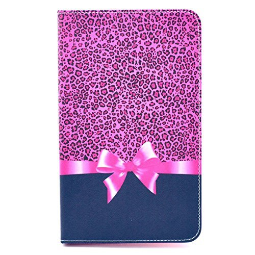for Galaxy Tab4 8.0 inch Tablet Case,Pink Leopard Bow Tie Design Book Style Folio With Stand Protection Magnetic Smart Slim Full Body Extreme Duty Dual Protective Back Cover with Kickstand - Rainproof Sand Proof Dust-proof Shockproof(Latest Version with Built-in Magnet for Sleep/wake Feature)Fashion Vintage Design Flip Pu Leather Smart Cute Stand Case,Full Body Protective Case Cover for Samsung Galaxy Tab 4 8.0 SM-T330/SM-T331/SM-T335