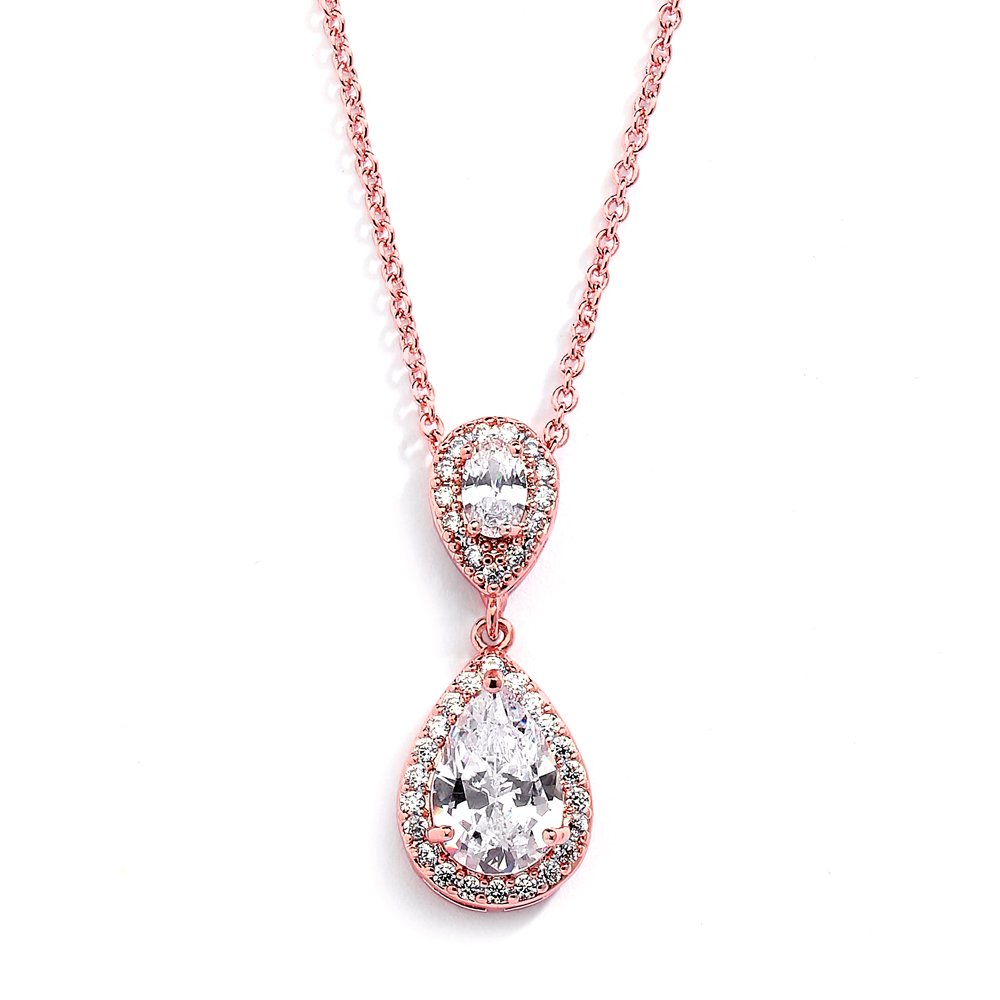 Mariell Rose Gold Pear-Shaped Cubic Zirconia Teardrop Bridal Necklace Pendant - Blush Wedding Jewelry