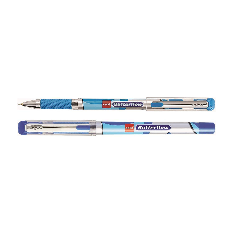 5x-Cello-Butterflow-Ballpoint-pen-Black-0-7mm-Swiss-Metal-Clip-Elasto-Grip  5x
