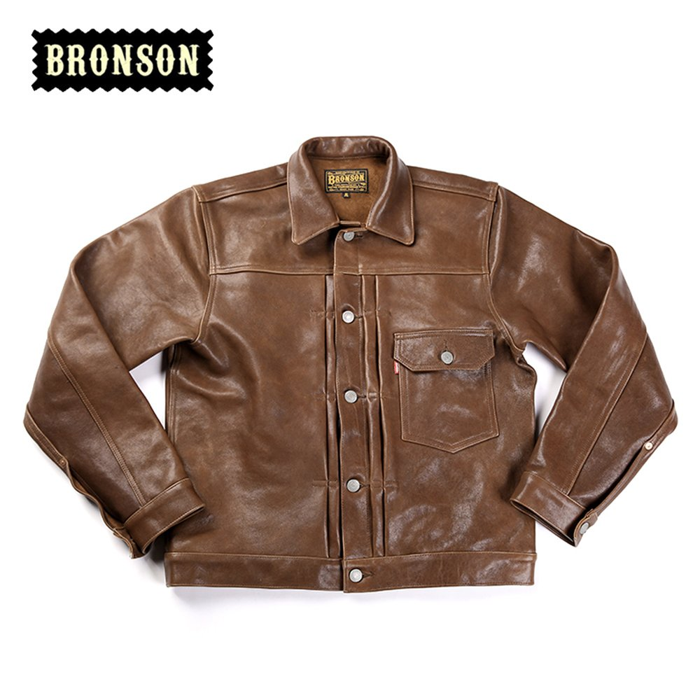 Bronson Men's Tanned Sheepskin Leather Jacket 506XX Leather Jacket (XL) by Bronson