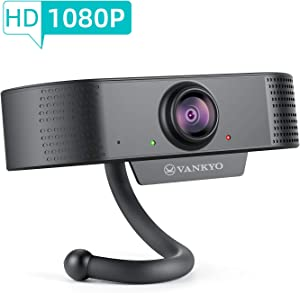 Webcam with Microphone, VANKYO FHD 1080P Webcam, HMW1 Wide Angle USB Webcam Plug & Play Streaming Computer Web Camera for PC Laptops Desktop Video Calling, Conferencing, Recording, Gaming