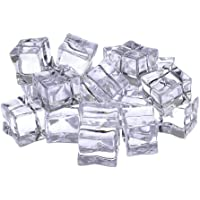 ZHUOTOP 20Pcs Acrylic Clear Fake Ice Reusable Cube Rock for Decoration Vase Filler with Cloth Petals